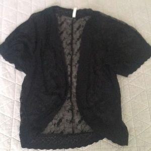 Xhiliration Black Lace Kimono Shrug Sz XS/S